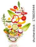 fresh mixed vegetables falling... | Shutterstock . vector #178835444