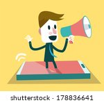 businessman shouting with... | Shutterstock .eps vector #178836641