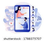 live streaming.two tiny blogers ... | Shutterstock .eps vector #1788375707