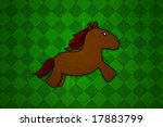 Baby Horse On Green Background