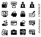 black money icons set  for... | Shutterstock .eps vector #178843619