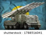 tactical short range ballistic missile with arctic camouflage on the Palau flag background. 3d Illustration