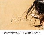 Girl Handwritting The Word Lov...