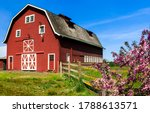 Farm barn in garden scene