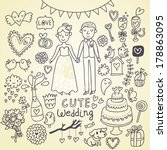 wedding set. cartoon... | Shutterstock . vector #178863095