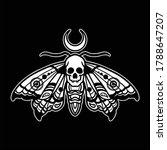 skull moth tattoo vector design | Shutterstock .eps vector #1788647207
