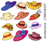 woman hat fashion set. isolated ...   Shutterstock .eps vector #1788648197