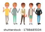 five boys dressed in trendy... | Shutterstock .eps vector #1788685034