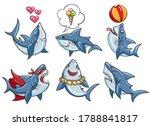 cartoon shark set. funny... | Shutterstock .eps vector #1788841817