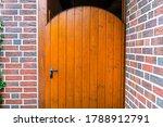 Closed Wooden Garden Door With...