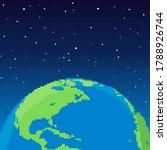 pixel earth. vector planet...