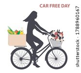 girl on a bicycle with a basket ... | Shutterstock .eps vector #1788960167
