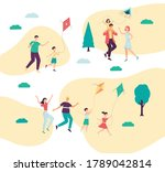 group of families with children ... | Shutterstock .eps vector #1789042814