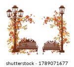 fall season in the park vector...   Shutterstock .eps vector #1789071677