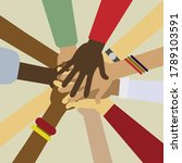 raised hands of different race... | Shutterstock .eps vector #1789103591