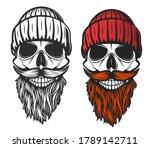 skull with red beard  mustache...   Shutterstock .eps vector #1789142711
