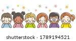 smiling children with hands on...   Shutterstock .eps vector #1789194521