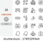 set of coronavirus icon  covid... | Shutterstock .eps vector #1789209464
