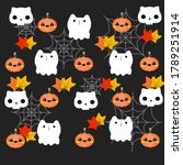 happy halloween background with ... | Shutterstock .eps vector #1789251914