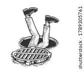 man falling into open manhole... | Shutterstock .eps vector #1789305761