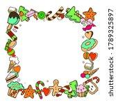 frame of doodle sweets... | Shutterstock .eps vector #1789325897