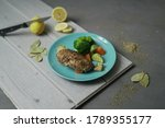 Small photo of chicken breast with vegetables and limen