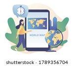 tiny girl studies atlas earth... | Shutterstock .eps vector #1789356704