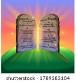10 commandments stone vector illustration