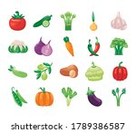 bundle of vegetables set icons... | Shutterstock .eps vector #1789386587
