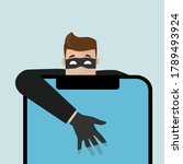 the thief breaks into the phone ... | Shutterstock .eps vector #1789493924