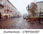 Lviv  Ukraine  Rainy Weather A...