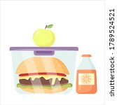 vector plastic lunch box with... | Shutterstock .eps vector #1789524521