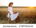 Young Woman  In White Linen...