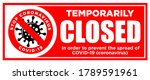 red sign temporarily closed by... | Shutterstock .eps vector #1789591961