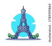 eiffel tower cartoon vector... | Shutterstock .eps vector #1789595864