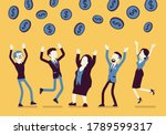 people catching dollar coins... | Shutterstock .eps vector #1789599317