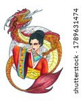 Asian Woman In Red With Dragon