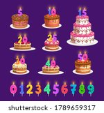 candles on birthday cake with... | Shutterstock .eps vector #1789659317