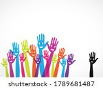 many happy colorful hands raise ... | Shutterstock . vector #1789681487