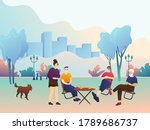 big happy family in the park ... | Shutterstock .eps vector #1789686737