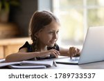 Cute Small Girl Child Sit At...