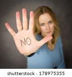 blond woman expressing denial... | Shutterstock . vector #178975355