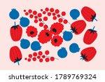 pink red vector fruits set.... | Shutterstock .eps vector #1789769324
