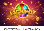 Casino banner jackpot design decorated with golden glittering playing prize sign coins. - stock vector