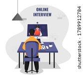 back view of man having video... | Shutterstock .eps vector #1789912784