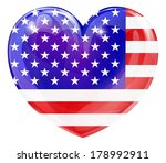American flag love heart concept with the American flag in a heart shape  - stock vector