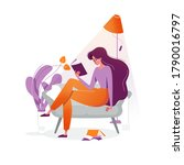 young woman reads a book on... | Shutterstock .eps vector #1790016797
