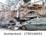 Small photo of Beirut / Lebanon - 08/05/2020: Destroyed properties in Mar Mikhael neighborhood after an explosion shook Beirut on August 4.