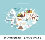 iceland vector map. animals and ... | Shutterstock .eps vector #1790149151