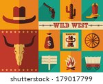Wild west icons.Vector illustration of cowboy objects in flat design style